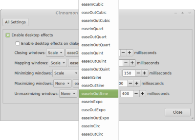 Cinnamon 'Effects' configuration dialog